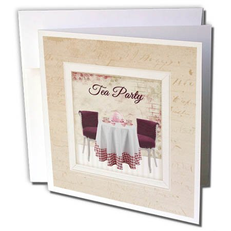 3dRose Beverly Turner Invitation Design - Tea Party, Table, Chairs, Teapot, and Teacups in Room, Red and Pink - 6 Greeting Cards with envelopes (gc_280567_1) -