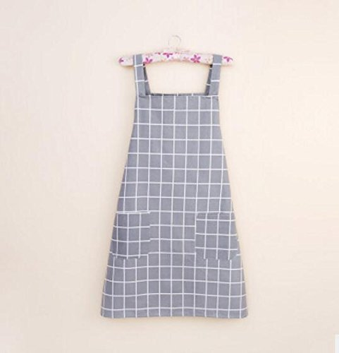 Gperw Hard Wearing Quality Fashion Antifouling Smock Plaid Sleeveless Apron for Home (Gray)
