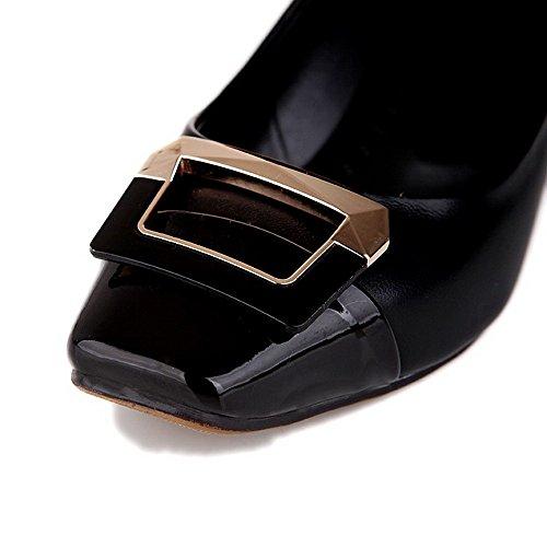 Odomolor Mujeres Sin cordones Puntera Cuadrada Tacón ancho De salón con Ornamento Metal Negro