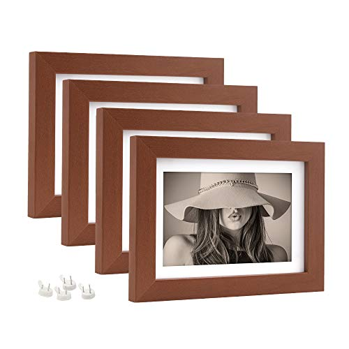 Afuly 5x7 Brown Picture Frames with 4x6 Mat for Office Desk and Gallery Wall Hanging Walnut Wood Color,Set of ()