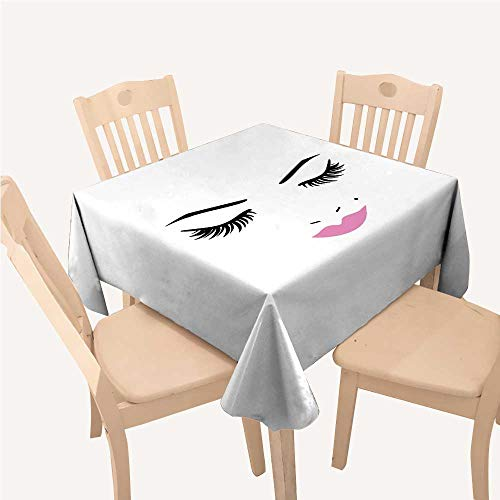 - WilliamsDecor Eyelash Camping Tablecloth Closed Eyes Pink Lipstick Glamor Makeup Cosmetics Beauty Feminine DesignFuchsia Black White Square Tablecloth W60 xL60 inch