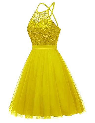 Dress Floral Hater Dresses Party Tulle Cocktail Length Dress Knee Homecoming JAEDEN Lace Yellow Citron nXqBw8S