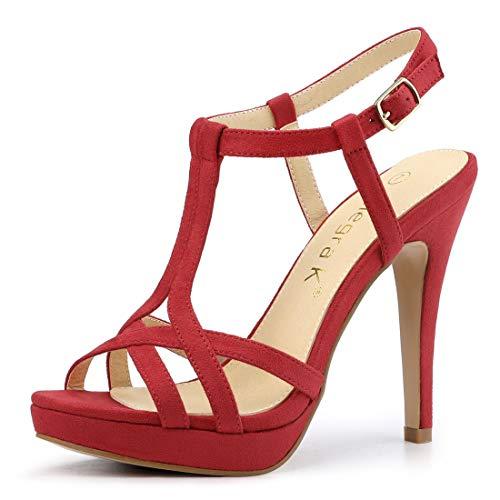 Allegra K Women's T Strap Slingback Red Platform Stiletto Heel Sandals - 7.5 M - Inch 1/2 Stiletto Platform Heel 4