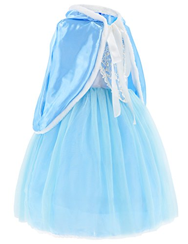 Princess Snow Queen Elsa Costumes Fancy Party Birthday Dress Up For Girls with Accessories 4-5 Years(110cm) by Party Chili (Image #3)