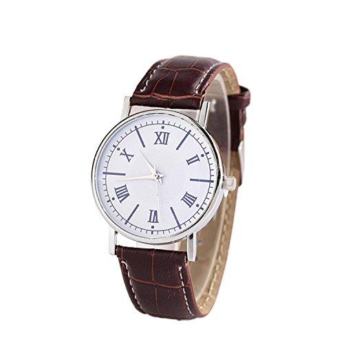 Goodfans New Unisex Fashion Synthetic Leather Band Round Analog Quartz Wrist Watch Bracelet Bangle