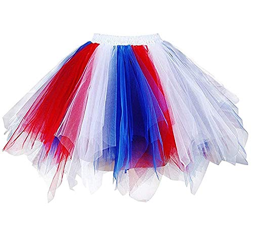 BIFINI Adult Women 80's Tutu Skirt Layered Tulle Petticoat Halloween Tutu Red/White/Blue -