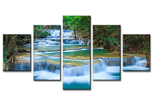 Green Dreamlike Waterfall Forest Living Room Bedroom Office 5 Pieces Set Wall Painting Printed HD Pictures Decoration by uLinked Art