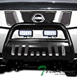 Topline Autopart Black Bull Bar Brush Push Bumper Grill Grille Guard With Skid Plate + 36W Cree LED Fog Lights For 04/05-15 Nissan Titan ; Armada