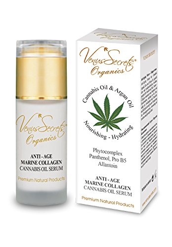 Anti Ageing Serum with Hemp Oil & Marine Collagen - 40ml - Penetrates & Moisturizes Skin. Enhances Elasticity & Firms while Helping Delay the Ageing Process - Suitable For All Skin Types Venus Secrets