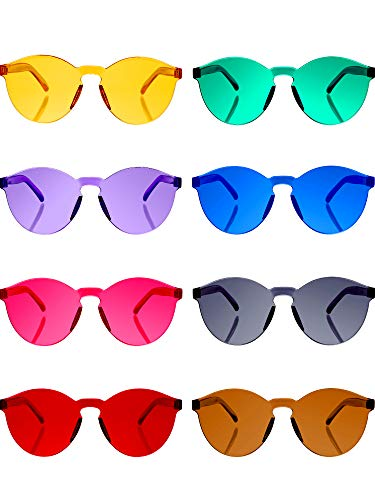 Blulu Round Rimless Sunglasses Tinted Eyewear Transparent Candy Color Sunglasses (8 Pieces, Color Set ()