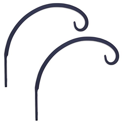 GrayBunny GB-6848B Hand Forged Curved Hook, 8.5 Inch, Black, 2-Pack, For Bird Feeders, Planters, Lanterns, Wind Chimes, As Wall Brackets and (Wrought Iron Hanger)