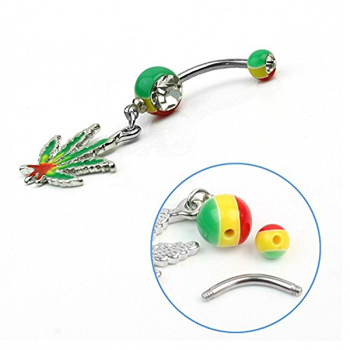 Ecloud ShopUS Bright Jamaican Pot Leaf Steel Girl Dangle Belly Navel Button Ring