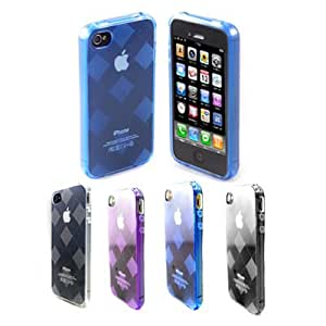 GMYLE(TM) Blue Transparent Clear Soft Plastic TPU Flexible Skin Case Cover for iPhone 4 4S with Grid Pattern