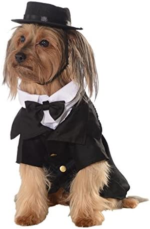 Lovelonglong Pet Costume Dog Suit Formal Tuxedo with Black Bow Tie for Large Medium Small Dogs Cat Wedding Clothes Reddish Brown L