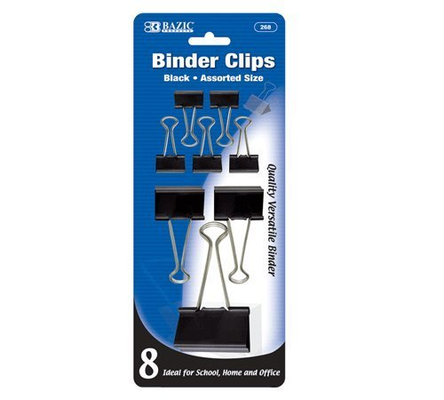BAZIC Assorted Size Black Binder Clip (8/Pack), Case Pack of 144