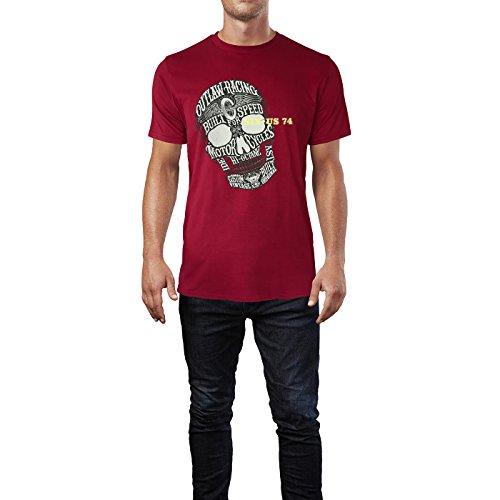 SINUS ART® Totenkopf mit Aufschrift im Vintage Stil Herren T-Shirts in Independence Rot Fun Shirt mit tollen Aufdruck