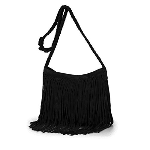 Bao Core Womens Hippie Suede Retro Vintage Fringe Tassle Faux Leather Shoulder Bag Messenger Crossbody Handbag Hippie Suede Shoulder Bag
