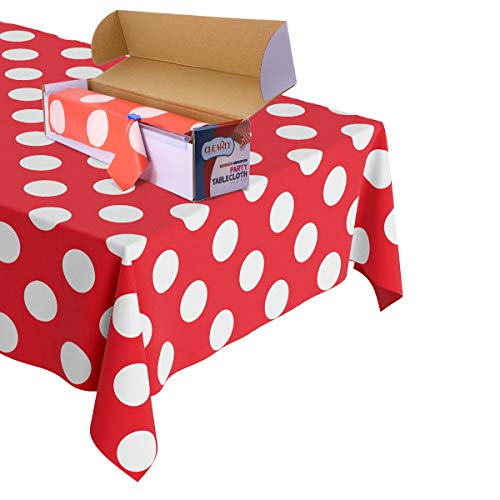 Polka Dot Plastic Tablecloth Roll - Durable Plastic Table Cover Roll | Indoor/Outdoor | 52 Inch X 100 Feet | Water Resistant Tablecover | Disposable Table Cloth with Easy to Use Safe Cutter - Red