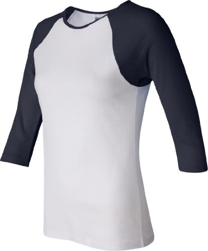 Bella+Canvas Ladies' Baby Rib 3/4-Sleeve Contrast Raglan Tee - White/ Navy - XL
