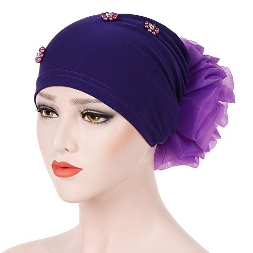 (Dainzuy Women Solid Beading Flower India Hat Muslim Wrap Chemo Cap Hat Cancer Chemo Beanie Scarf Turban Wrap Cap Purple )