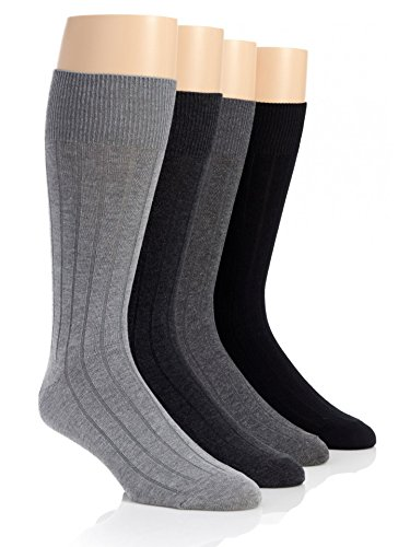 (Calvin Klein Men's 4-Pack Solid Ribbed Dress Crew Socks, Graphite/Grey/Charcoal/Black, Large)