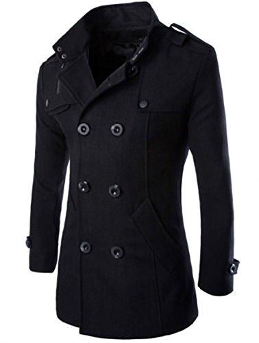 Hikenn Mantel Trenchcoat Jacken Herren Stylisch Zweireihig Warm Winter Lang (S, Schwarz)