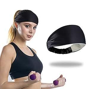 Sports Headband Silicone Sweatband for Women Men (Black)