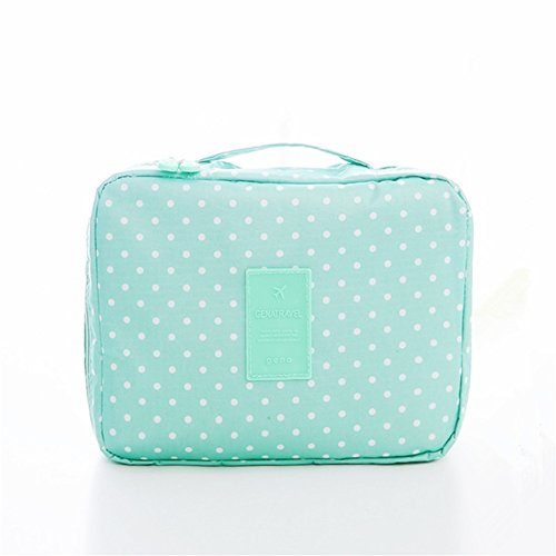 Travel Toiletry Portable Travel Make up Kit Bag Cosmetic Makeup Pouch Toiletry Women Men Case Wash Organizer for Vacation Travel Bathroom Organizer Carry On Case(Green Dot) (Dot Bear)