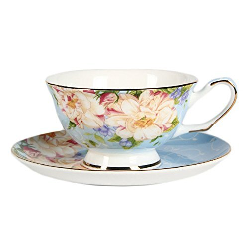 China Ceramic Teacup (ufengke European Bone China Coffee Cups, Ceramic Afternoon Tea Cup With Saucer, Beautiful Rose Flower Printing, Gift Cups For Girls, Blue)