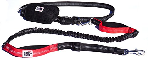 Black Rhino - Premium Hands Free Dog Leash for Running Walking Jogging & Hiking - Adjustable Length Dual Handle Bungee Leash Medium – Large Dogs Neoprene Padded Handles – Free Running Pouch Red/Bl