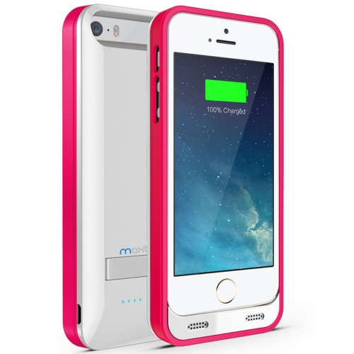 iPhone 5 Battery Case, Maxboost Atomic S iPhone Charger for Apple iPhone 5 / iPhone 5s [Apple MFI Certified] Protective 2400mAh Battery Pack Juice Power Case with Built-in Kickstand - White/Pink