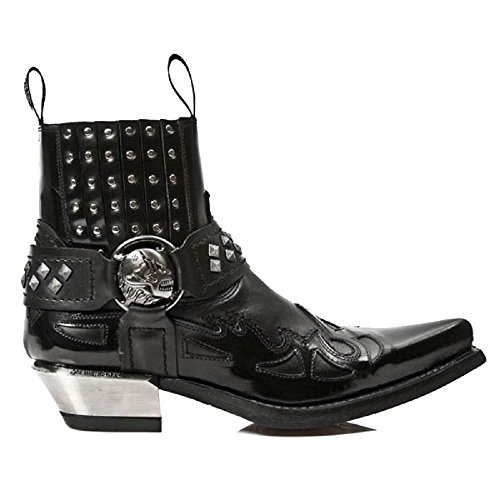 New Rock Black Coyboy Western Gothic Ankle Boots with Skull Straps and Metal Studding efvG9f