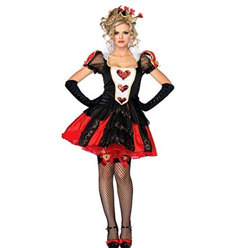 ZNFQC Womens Red Hearts Poker Queen Halloween Costumes (Red) (Queen Of Hearts Card Adult Costume)