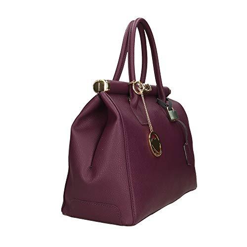 Piel Cm Violeta Made In En Bolso 35x28x16 Chicca Mano Genuina Italy De Borse 7qPT0BX