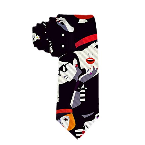 (Handmade Ties For Men:Skinny Woven Slim Tie Mens Ties-Thik Necktie Fashion Women In Style Pop Art Red Lips Neckties For Every Outfit)