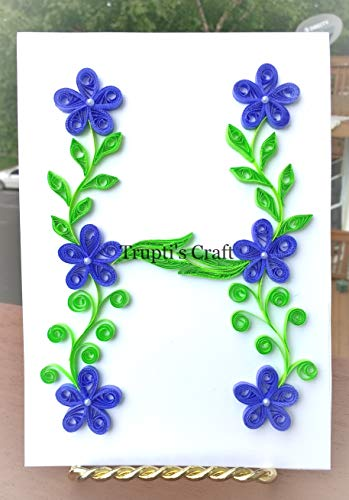 Paper Quilling Monogram 'H' Wall Frame/Wall Hanging/Home Decor/Gift / Children Room Decor/Monogram / Paper Quilling Gift by Trupti's Craft (Image #5)