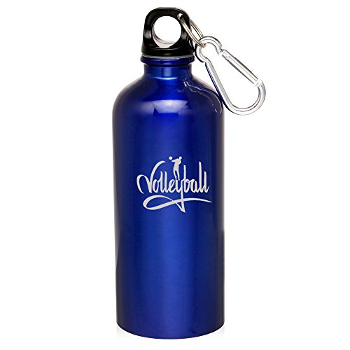 Blue Volleyball Volleyball 20Oz Aluminum Sports Water Bottle Canteen Clip Volleyball Calligraphy