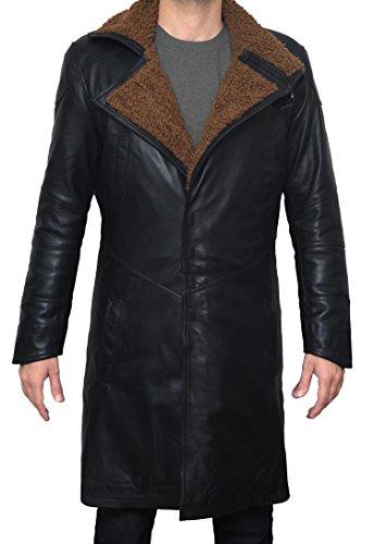 Mens Ryan Gosling Coat - Blade Runner Black Leather Coat For Men (S) - Outfit Gosling Ryan