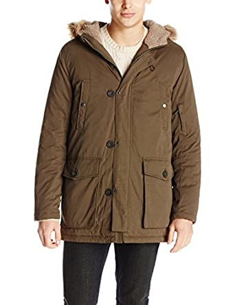 Kenneth Cole New York Men's Anorak Jacket With Faux Fur-Trimmed ...