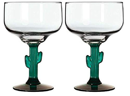 (Margarita Glass W/Cactus Green Decor Stem Set of 6 with Bonus Recipe Booklet)