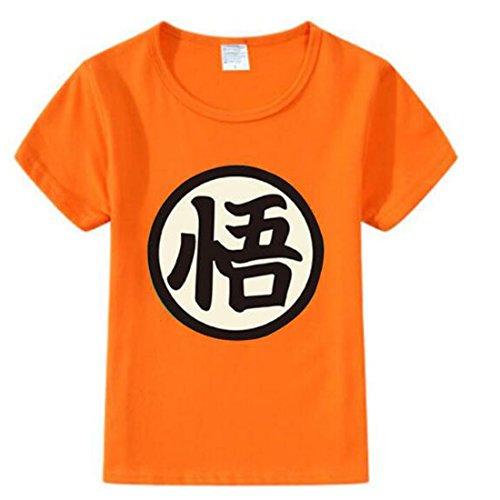 NSOKing Dragon Ball Z Son Goku Cosplay Costume Kids Children Baby Tshirt Tee (5/120cm, 01-Orange)