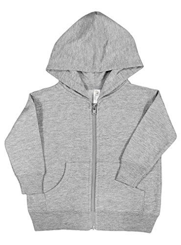 Rabbit Skins Fleece Infant Baby Zip Fleece Hoodie [Size 12 Months] Heather Gray Long Sleeve Sweatshirt