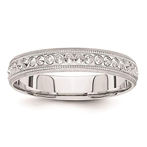 14K White Gold 3 MM Design Etched Wedding Band Size 5.5