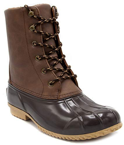 London Fog Womens Wynter Cold Weather Duck Boot Cognac 6 M US