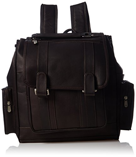 Piel Leather Double Loop Flap-Over Laptop Backpack, Chocolate, One Size - Over Double Compartment Laptop Bag