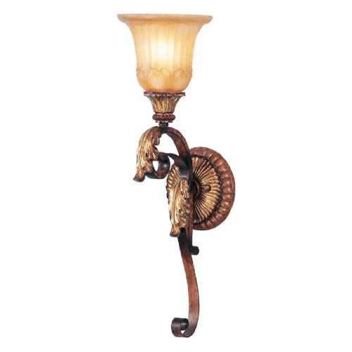 Livex Lighting 8581-63 Villa Verona 1 Light Verona Bronze Finish Wall Sconce with Aged Gold Leaf Accents and Rustic Art Glass