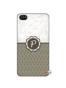 Monogram Initial Letter P iPhone 4 Quality Hard Snap On Case for iPhone 4 4S 4G - AT&T Sprint Verizon - White Case Cover wangjiang maoyi