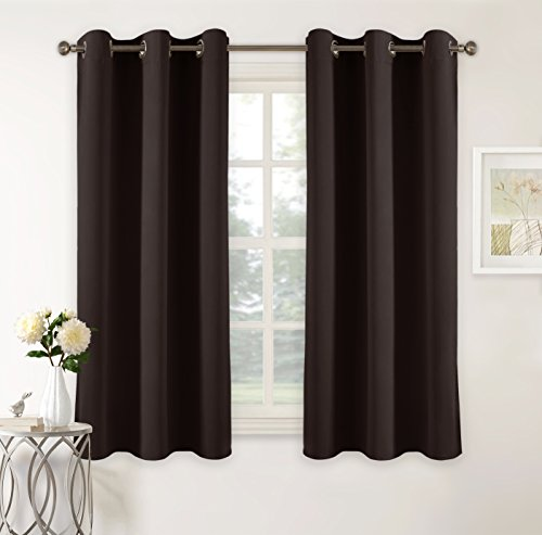 Chocolate Window - PONY DANCE Heavy Duty Blackout Curtain Panels Home Decor Ring Top Solid Room Darkening Window Treatments Draperies Energy Saving for Bedroom Kitchen Living Room, 42