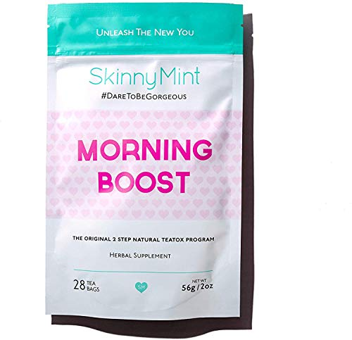 SkinnyMint Morning Boost Teatox. Great Tasting Detox Tea. Boosts Energy (Bootea 14 Day Detox Before And After)