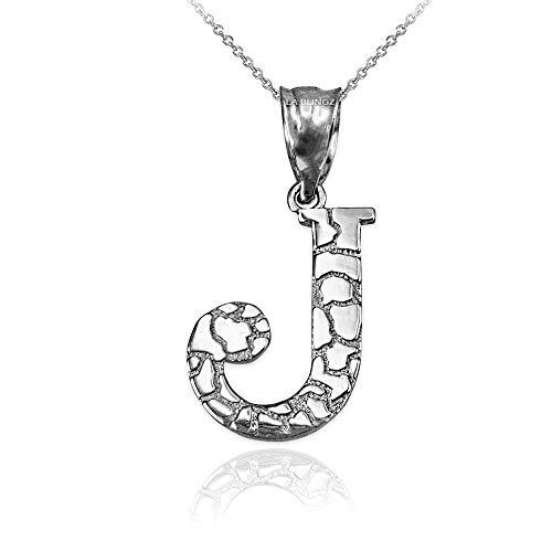- LA BLINGZ 14K White Gold Nugget Initial Letter J Necklace (22)